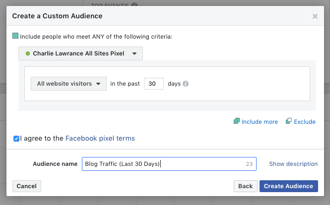 Create custom website audience