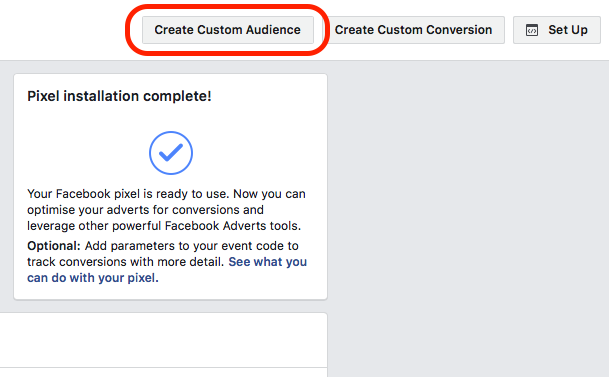 Create custom audience Facebook pixel