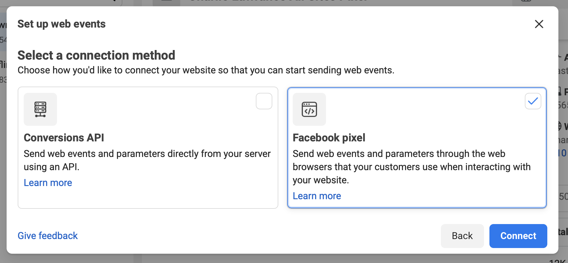 Facebook pixel connection method