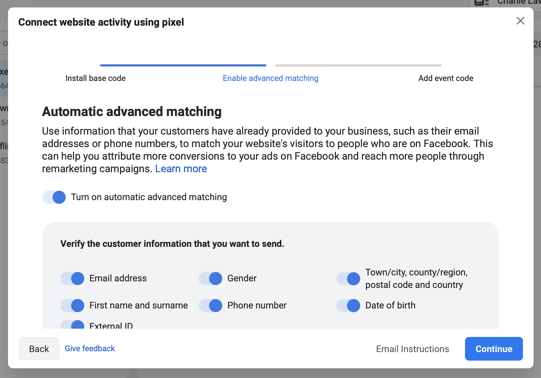 How to enable Facebook auto advanced matching