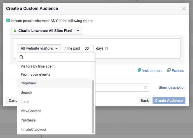 Website Custom Audience Conversions email list