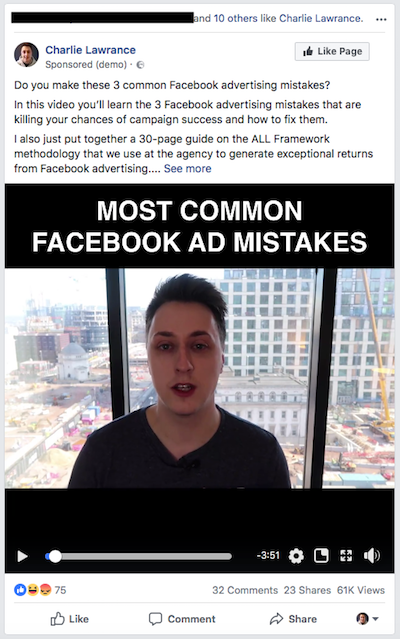 Selling on Facebook content example