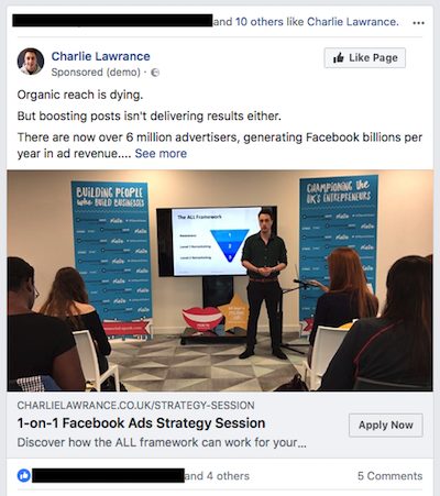 Sellin on Facebook strategy ad