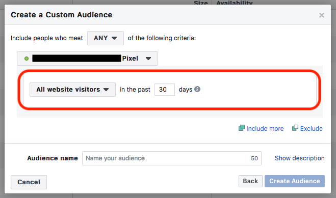 Default - Website custom audience creation website traffic