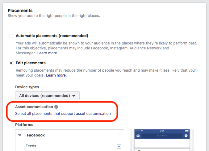 Facebook Advertising Tips PAC Feature