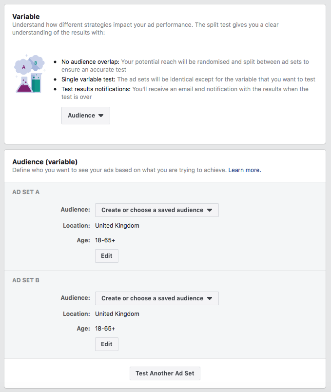 Facebook advertising tips split testing audiences