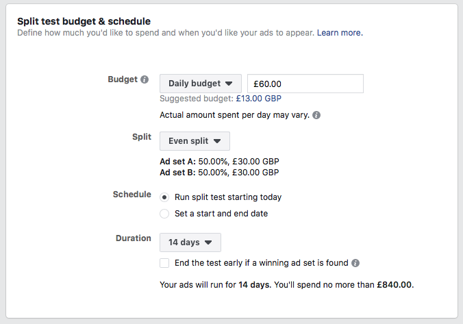 Facebook advertising tips budget and schedule