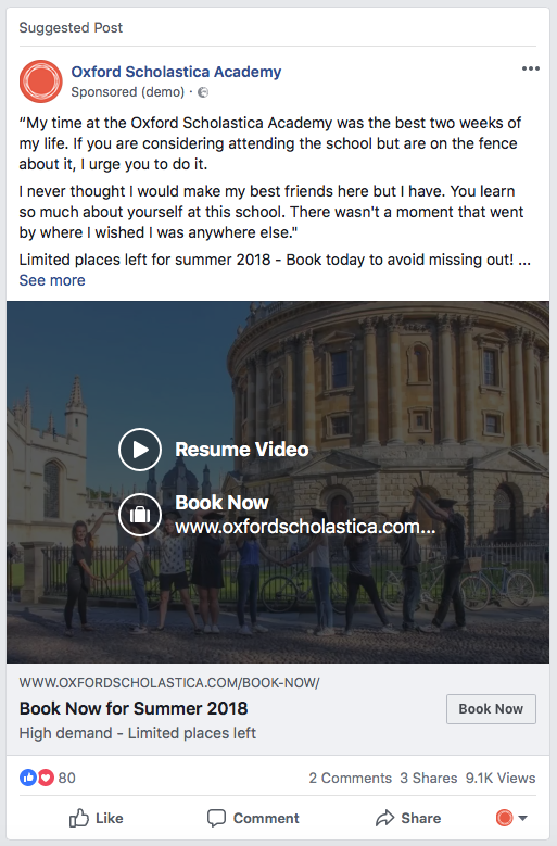 Facebook Adverting Tips Testimonial Ad Example