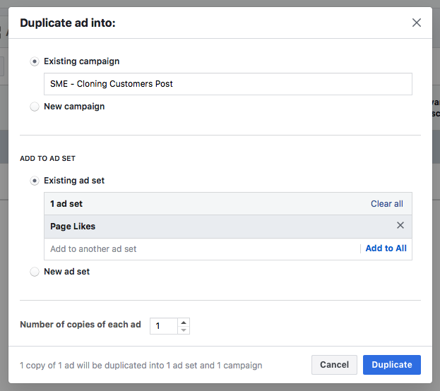 Duplicate Menu Facebook Ad Fatigue