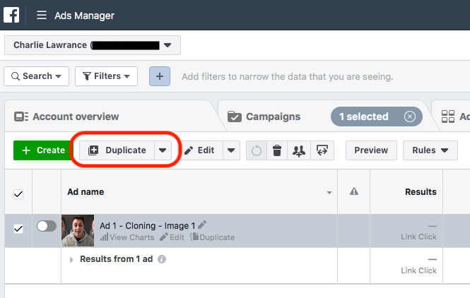Duplicate Button Facebook Ad Fatigue