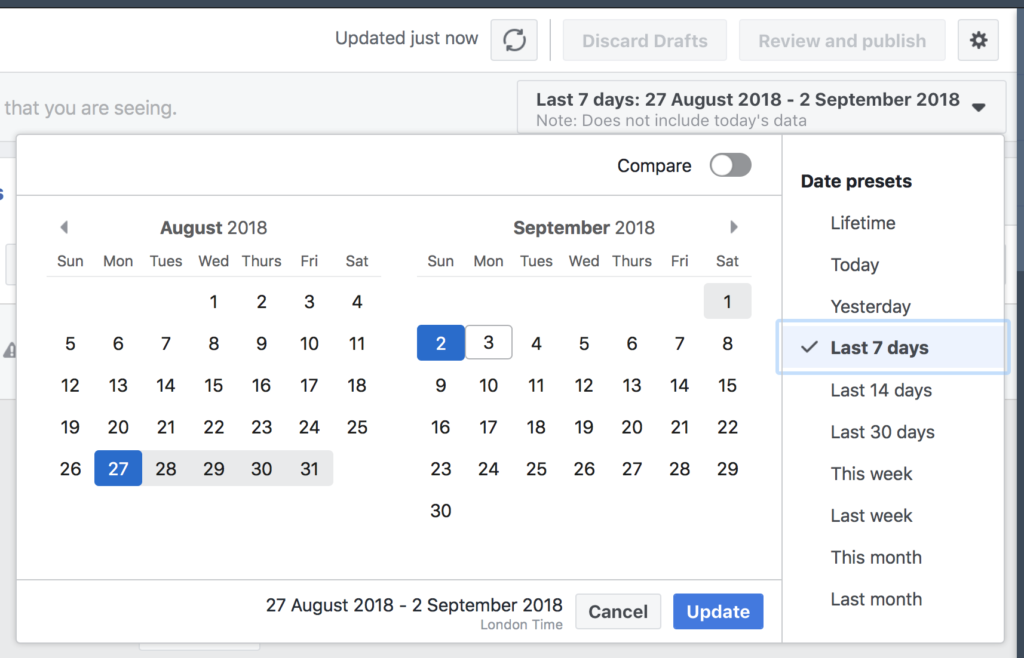 Facebook ad performance compare feature date picker