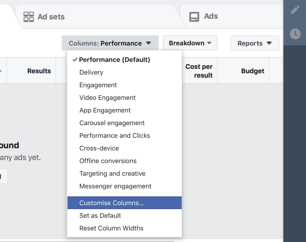 Facebook ad performance reporting column part 1