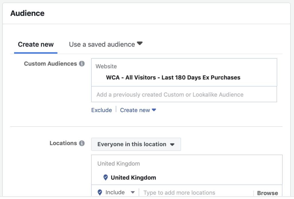 Select website custom audience in custom audience field