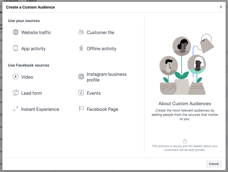 Facebook Custom Audience main menu