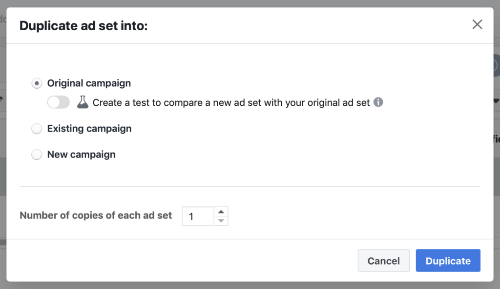 Duplicate ad set Facebook warm audience campaign