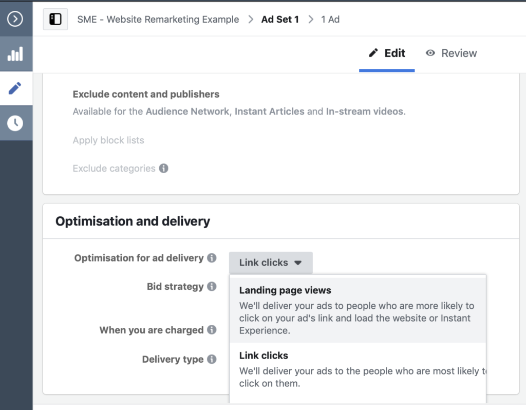 Select landing page views from the optimisation and ad delivery dropdown.