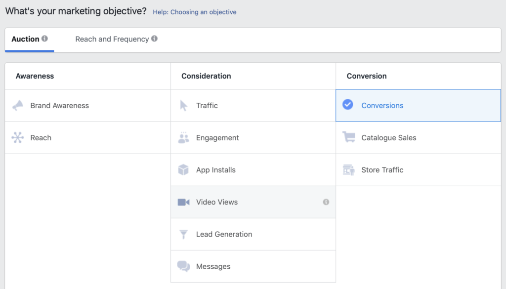 objective selection first facebook ad campaign