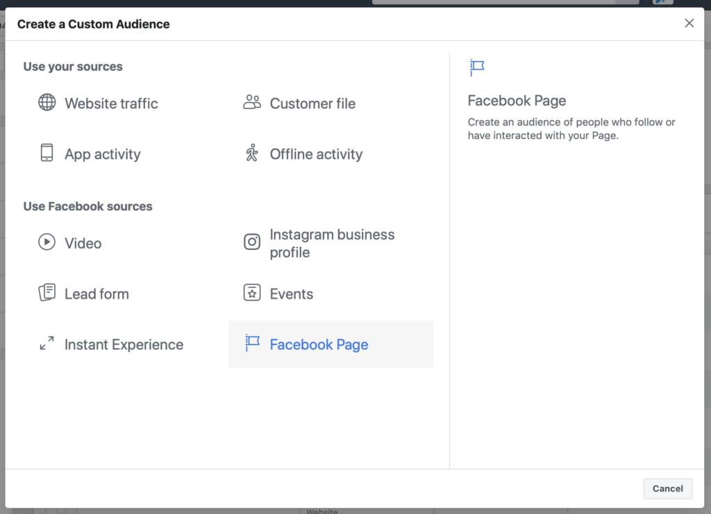 Facebook ad custom audience creation Facebook page engagement creation window