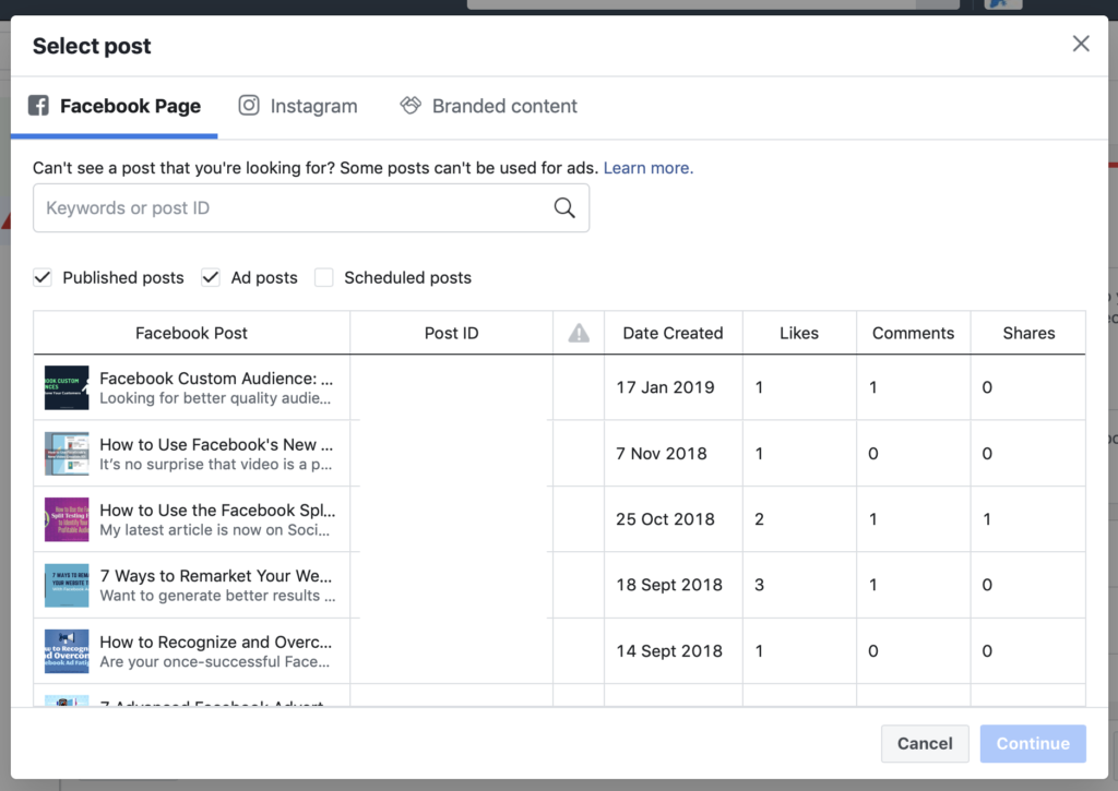 Existing post feature choose ad created in facebook page engagement ad set