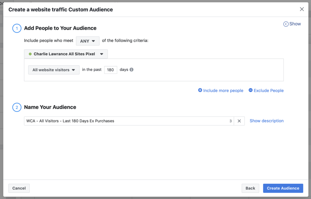Website Custom Audience creation main menu last 180 days excluded purchases