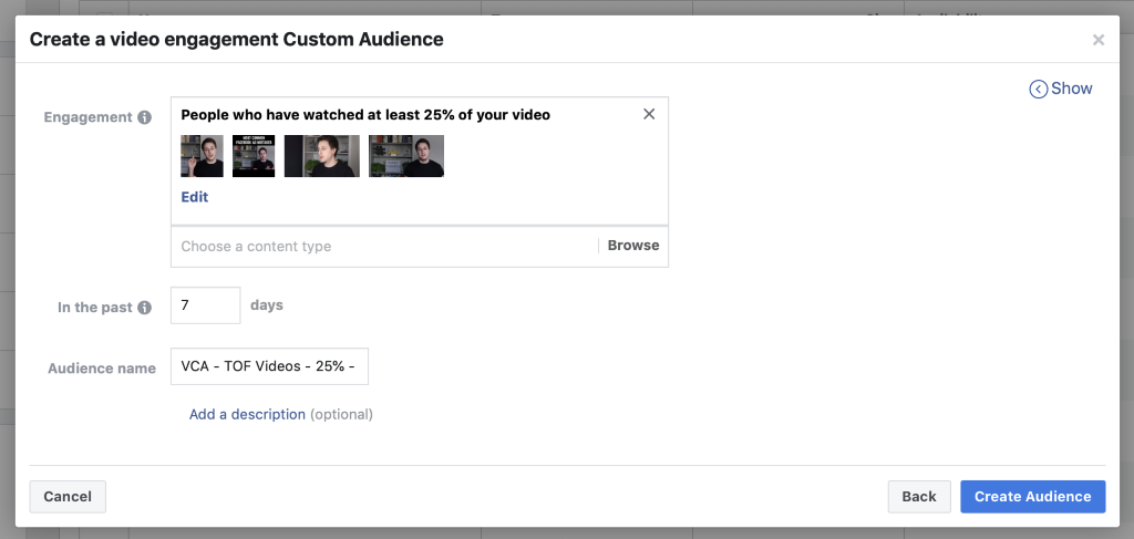 engagement condition selected for videos with set audience duration for video custom audience target people with facebook ads