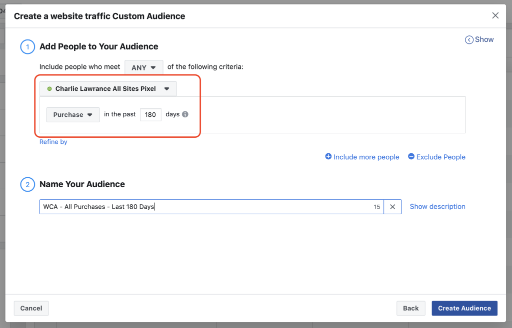 purchase event selected in past 180 duration for website traffic custom audience target people with facebook ads