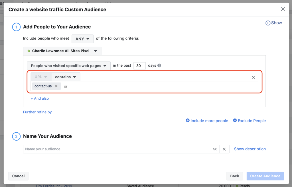 Set the URL extension in the contains field under the page visitors engagement criteria.  target people with facebook ads