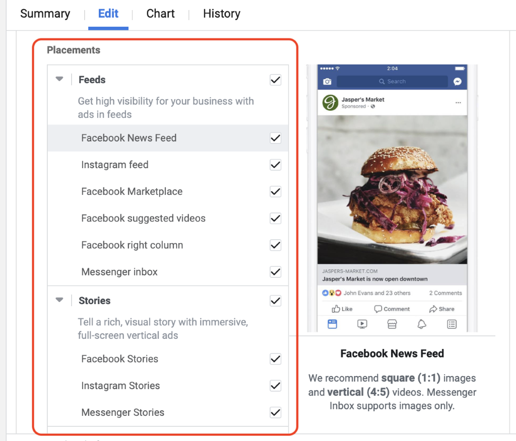 Facebook ads manager selecting placements choice of 15