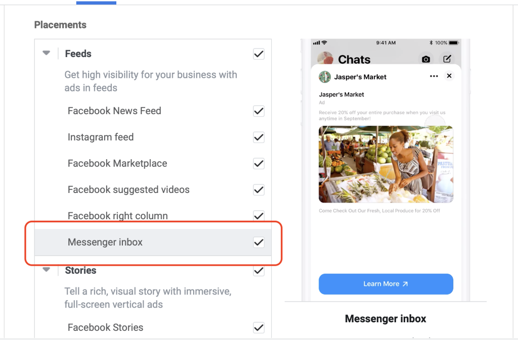 Facebook messenger inbox ads placement selection