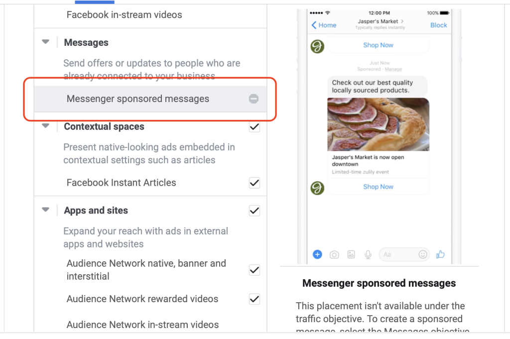 Facebook messenger sponsored messages ads placement selection