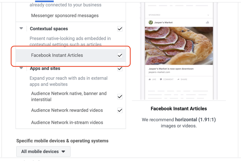Facebook instant articles selection
