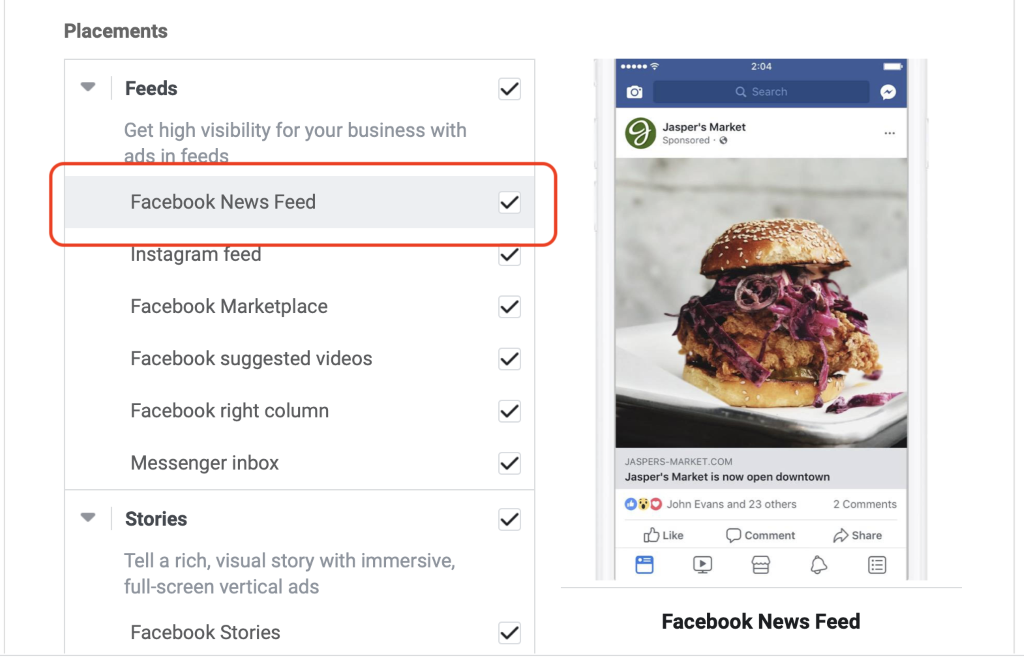 Facebook News Feed ad placement selection