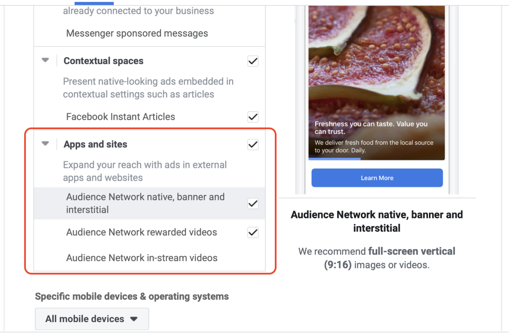 Facebook apps and sites selection