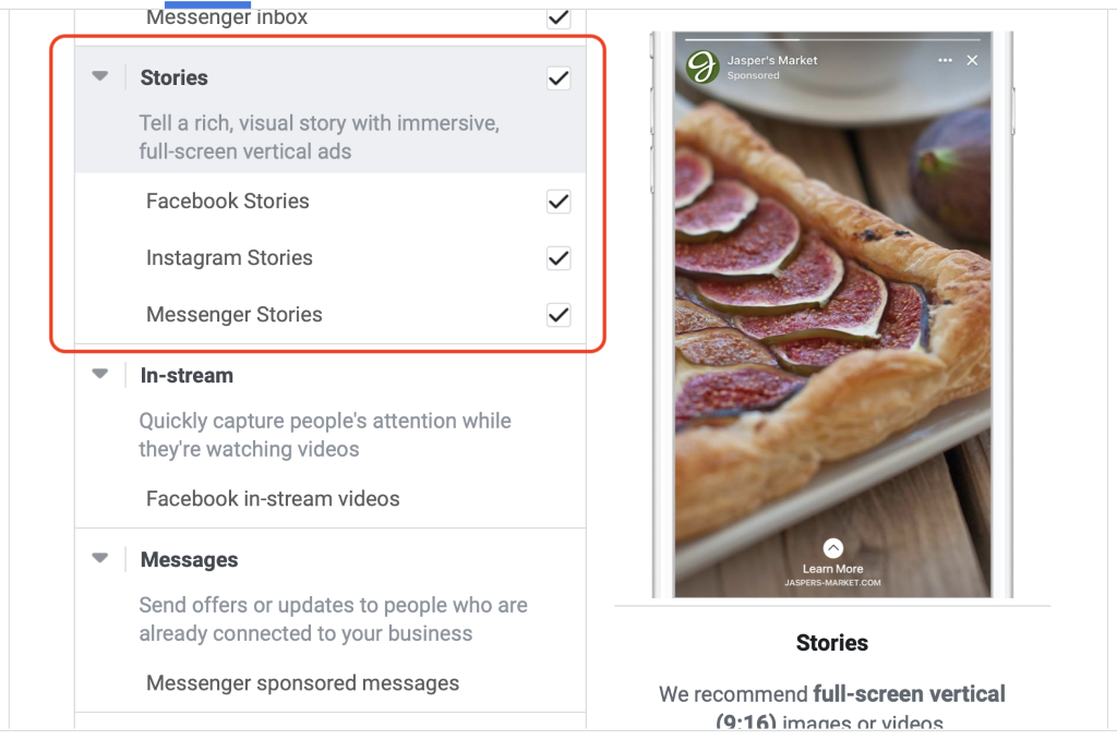Facebook stories ads placement selection instagram and messenger