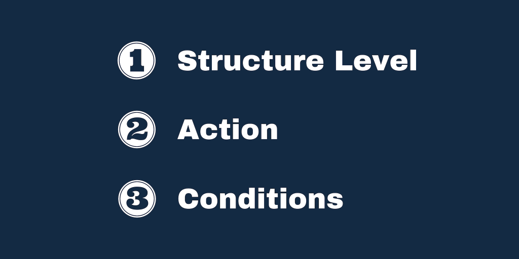 The three main parts to Automated Rules: Structure Level, Action and Conditions.