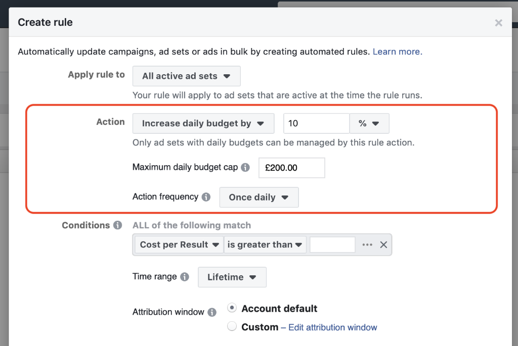 Facebook automated rules max cap section add in double your current daily budget and change the action frequency to daily.