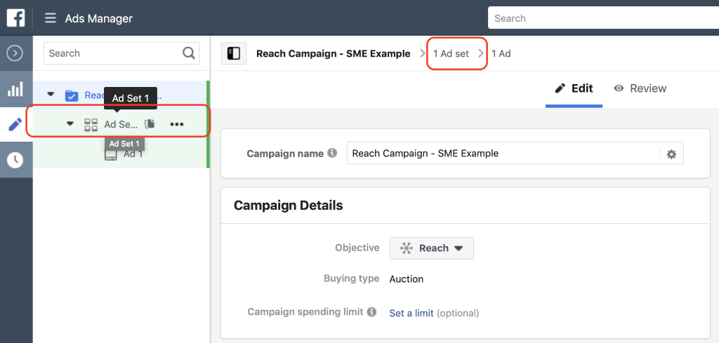 Select the Ad Set to navigate to the ad set level of your campaign.