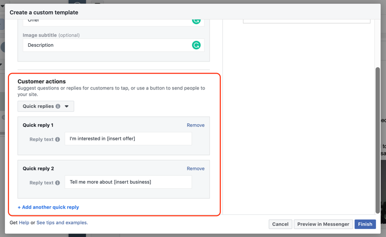 Use quick replies to prompt target audience to start a conversation with you in Messenger.