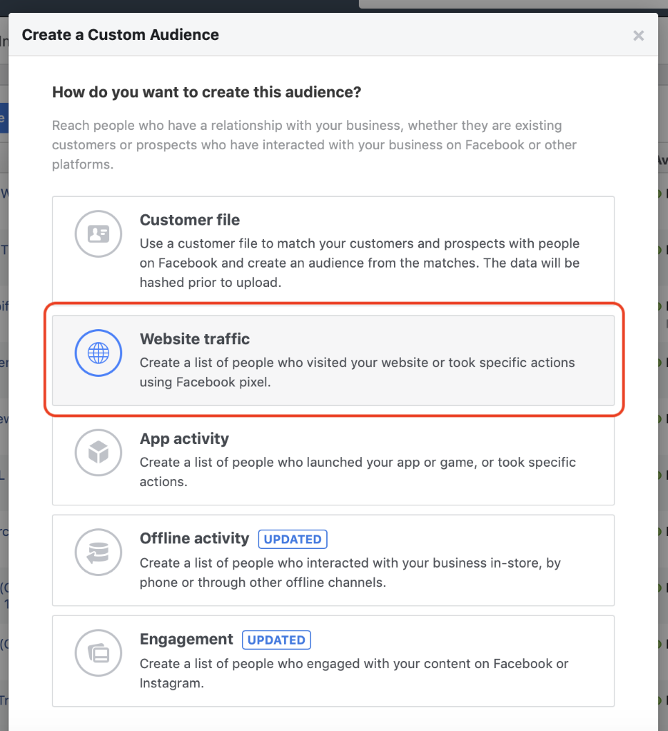 """Use the Reach objective when targeting """"hot"""" audiences of website traffic via website custom audiences."""