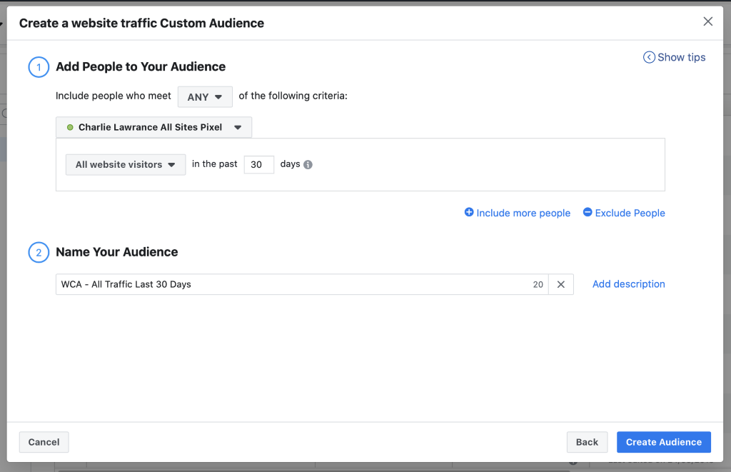 Hot audiences consist of website custom audiences and target people that have visited your website.