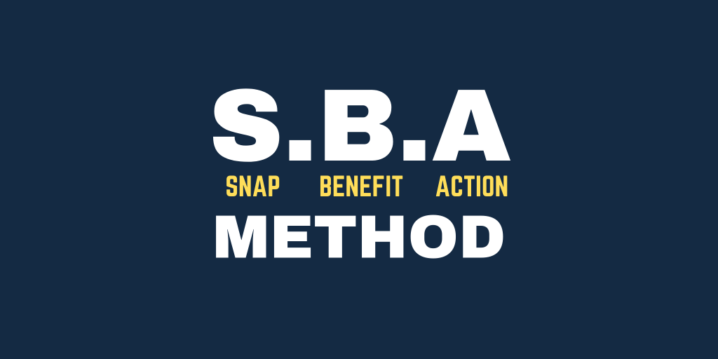 Use the SBA copy method to create the copy for your offer based ad.