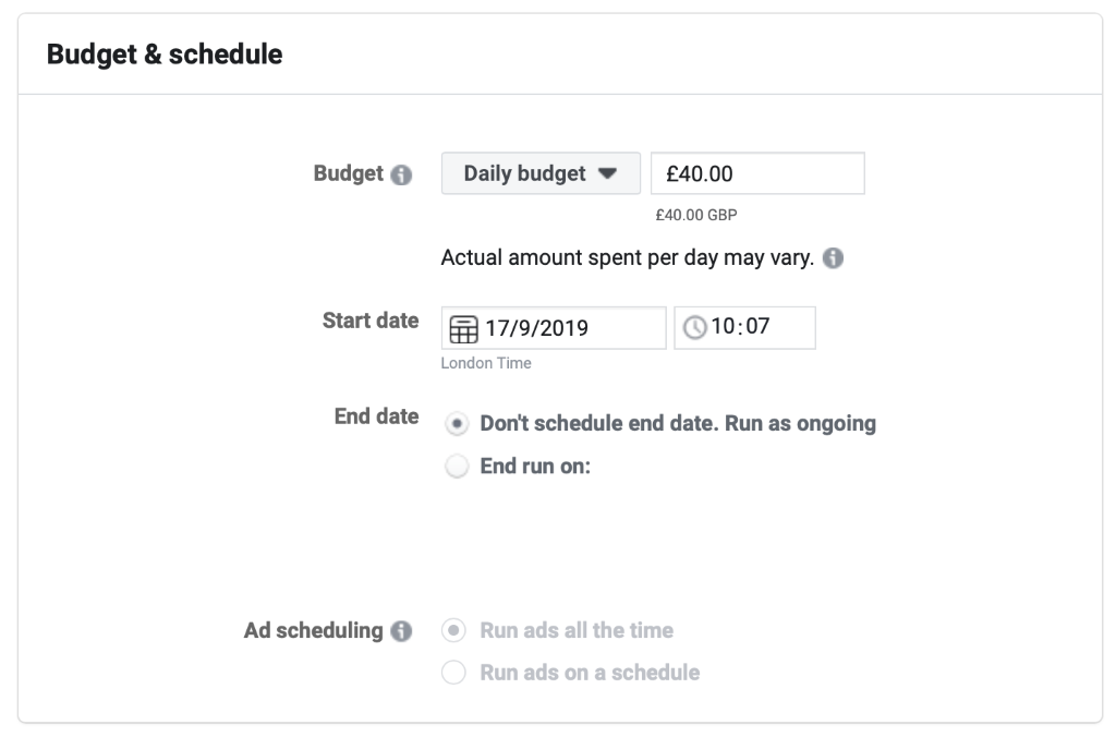 Set your budget based on your audience size for Facebook ad campaign