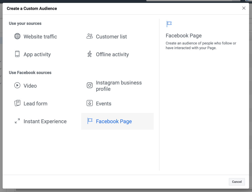 Custom Audience Menu click on Facebook Page. Facebook ad campaign