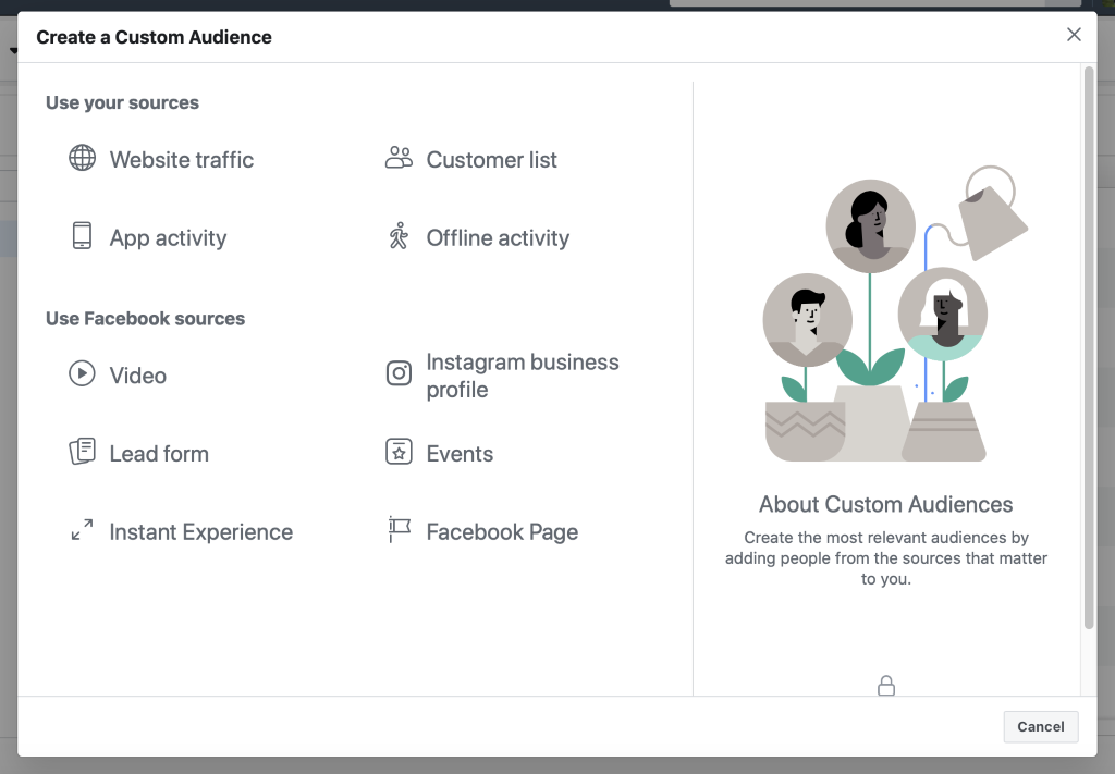 Warm audience includes all custom audiences apart from website traffic.