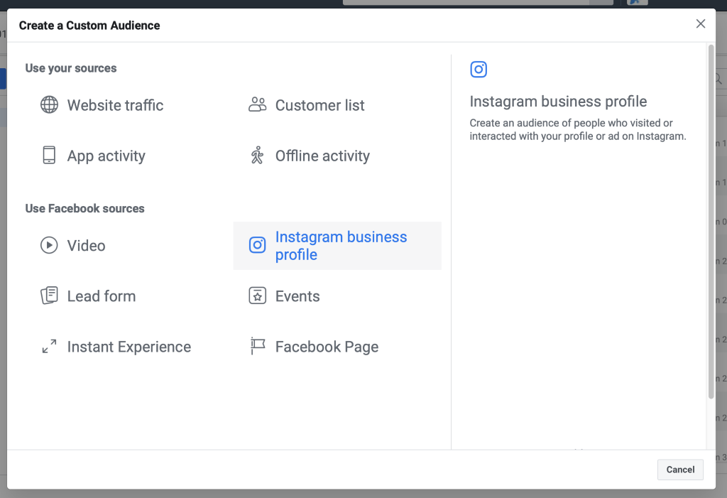 Select Instagram Business Profile from the custom audience menu.