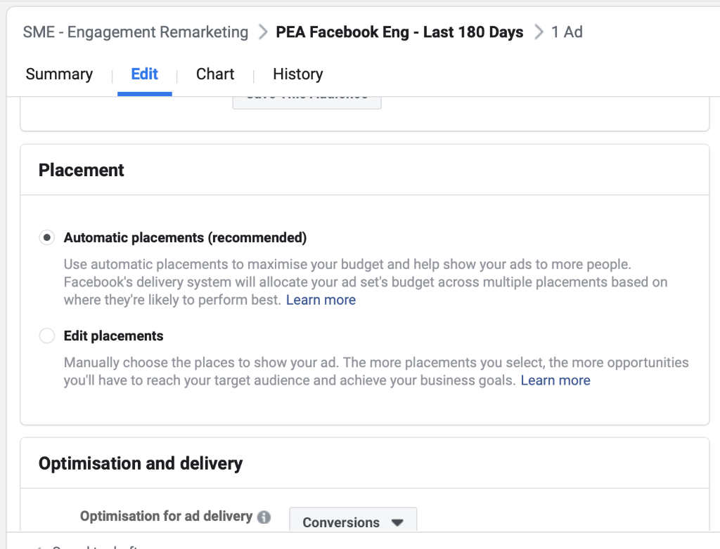 Use automatic placements when using the conversion objective for Facebook ad campagins