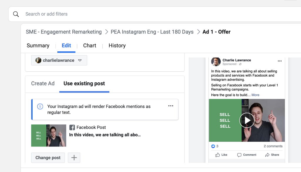 One you select your ad from the matrix it will appear below the Existing post section and in the Facebook ad preview.