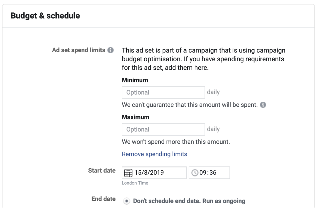 You can control the distribution of your budget across your ad sets using ad spend limits.
