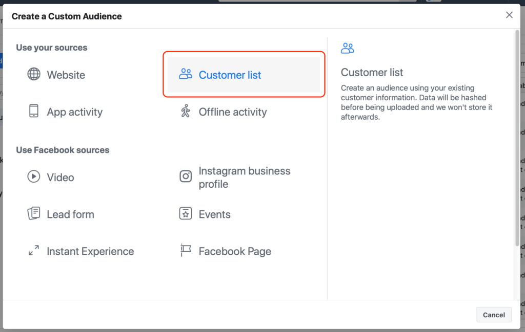 Facebook advertising customer file custom audience